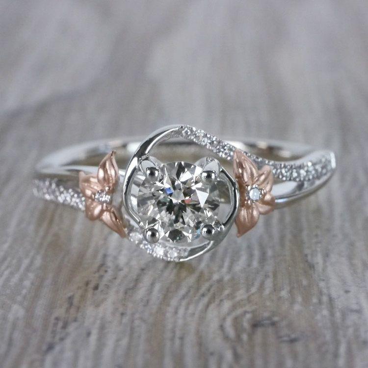 Custom Rose Petal Floral Diamond Engagement Ring