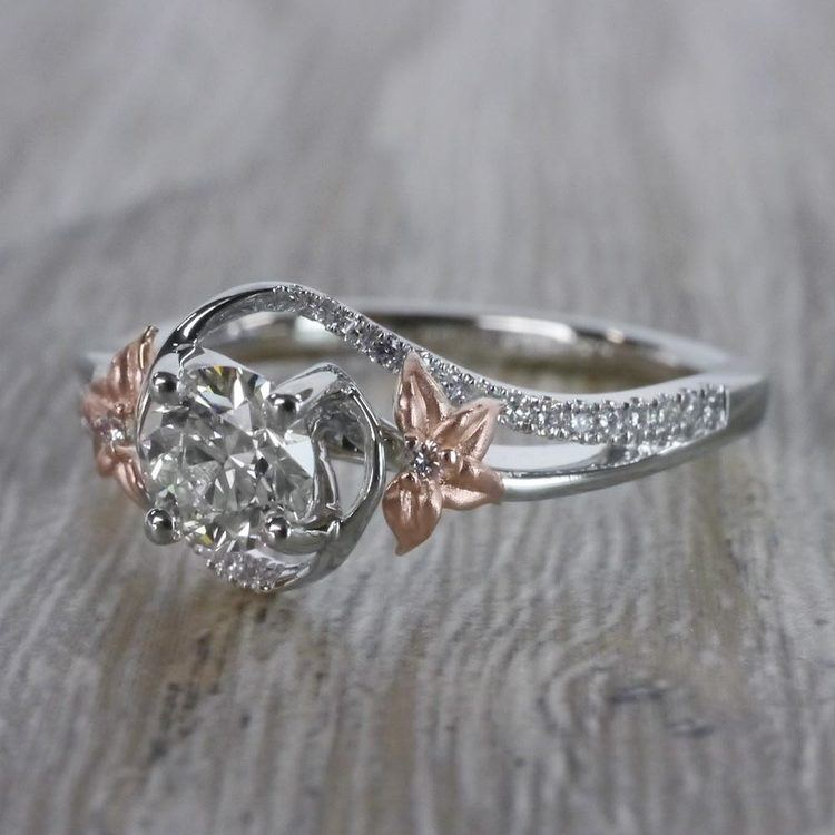 Custom Rose Petal Floral Diamond Engagement Ring angle 2
