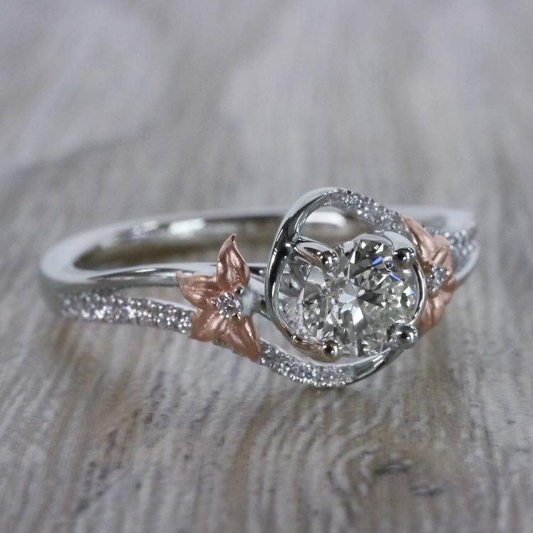 Custom Rose Petal Floral Diamond Engagement Ring angle 3