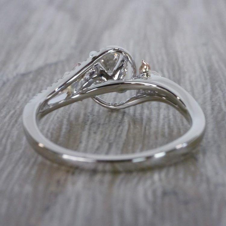 Custom Rose Petal Floral Diamond Engagement Ring angle 4