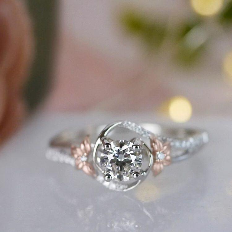 Custom Rose Petal Floral Diamond Engagement Ring angle 5