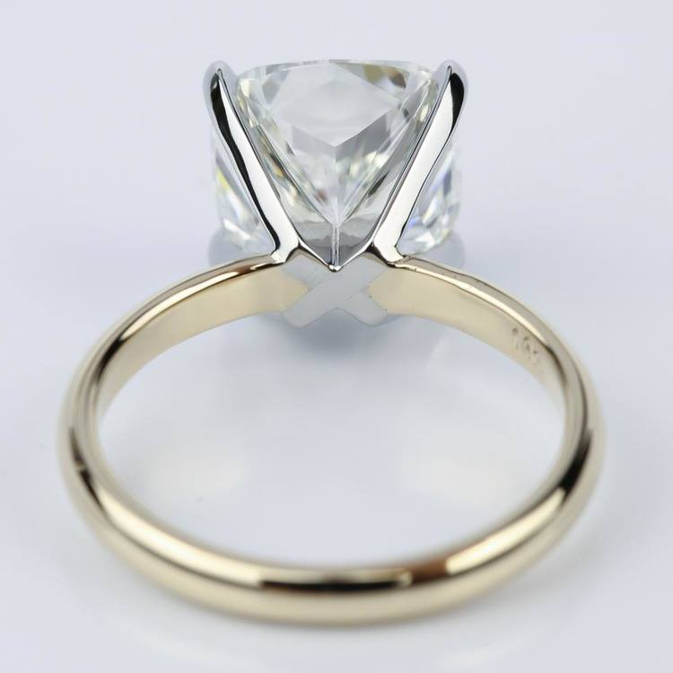Yellow Gold Comfort-Fit 4.70 Carat Cushion Cut Solitaire Engagement Ring angle 4
