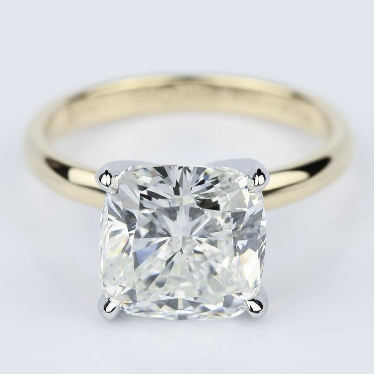 Yellow Gold Comfort-Fit 4.70 Carat Cushion Cut Solitaire Engagement Ring