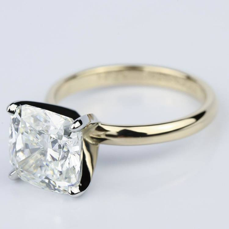Yellow Gold Comfort-Fit 4.70 Carat Cushion Cut Solitaire Engagement Ring angle 2