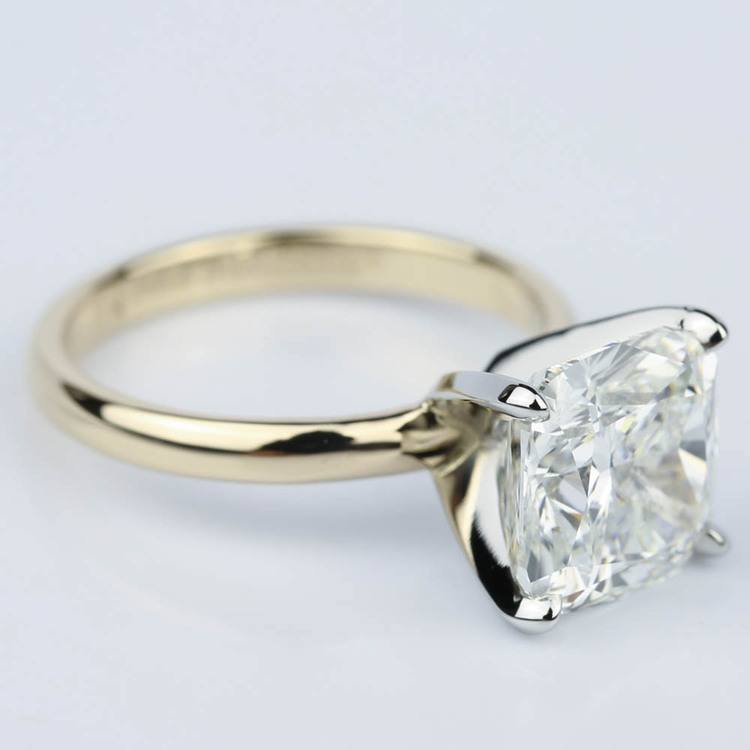 Yellow Gold Comfort-Fit 4.70 Carat Cushion Cut Solitaire Engagement Ring angle 3