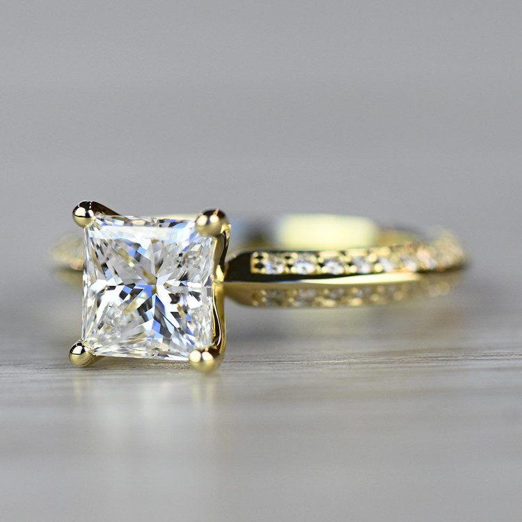 Yellow Gold Diamond Knife Edge Engagement Ring  angle 2