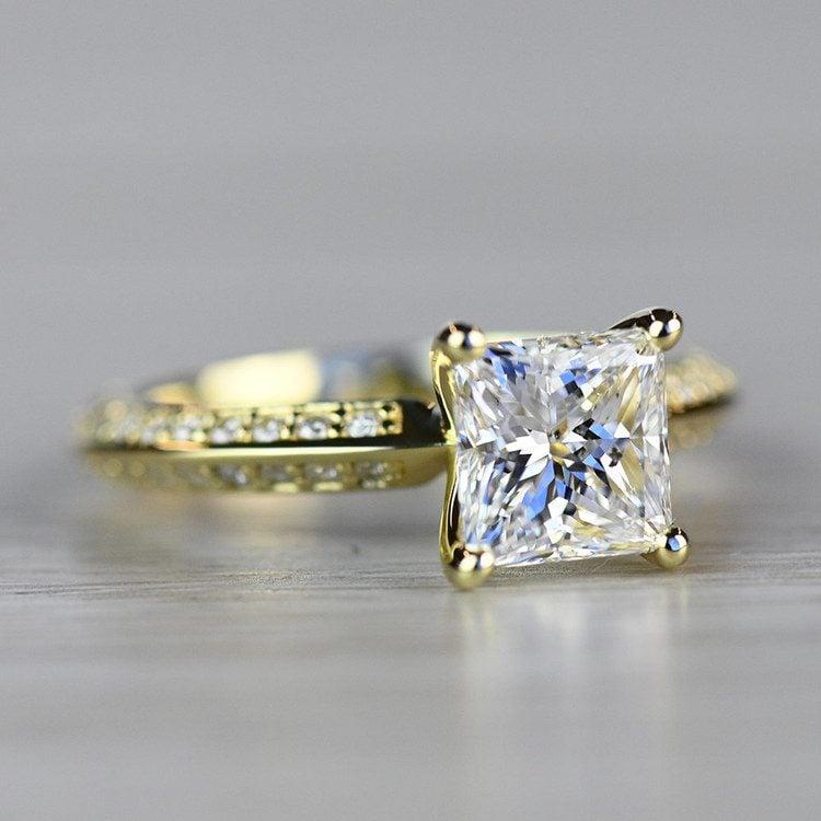 Yellow Gold Diamond Knife Edge Engagement Ring  angle 3