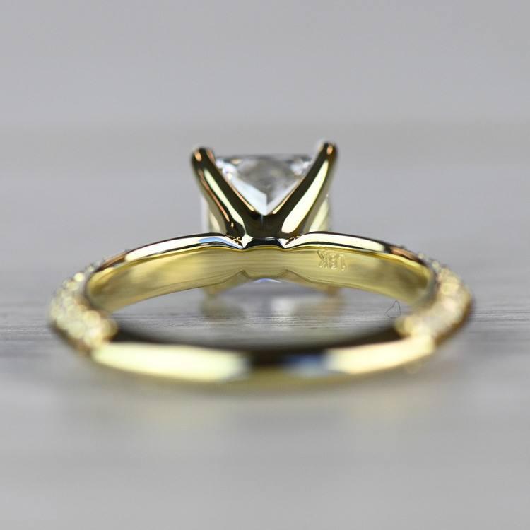 Yellow Gold Diamond Knife Edge Engagement Ring  angle 4