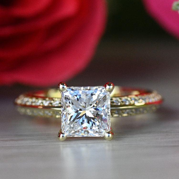 Yellow Gold Diamond Knife Edge Engagement Ring  angle 5