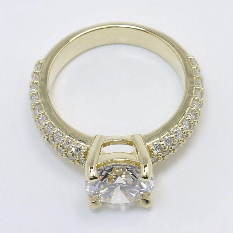 Yellow Gold Pave Diamond Ring angle 4
