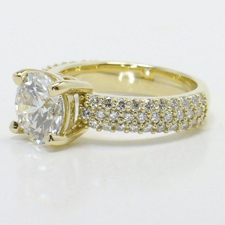 Yellow Gold Pave Diamond Ring angle 2