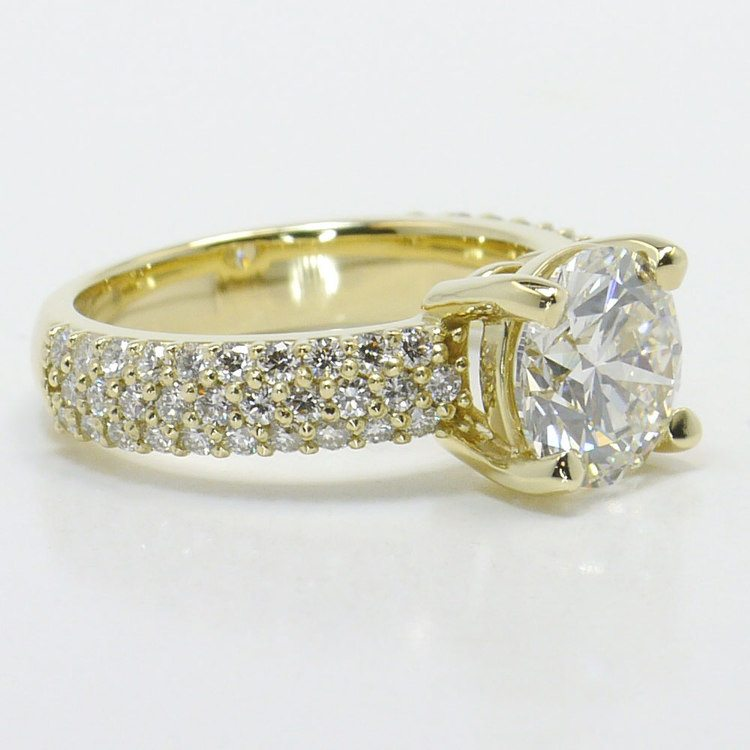 Yellow Gold Pave Diamond Ring angle 3