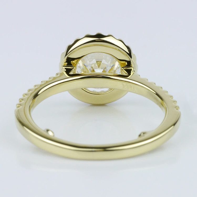 Yellow Gold Round Halo Engagement Ring (1.71 ct.) angle 4