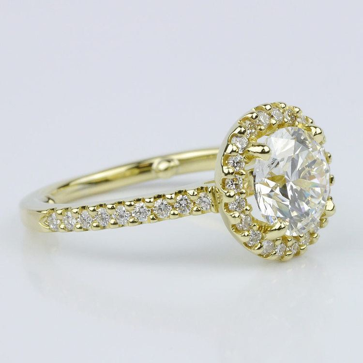 Yellow Gold Round Halo Engagement Ring (1.71 ct.) angle 3