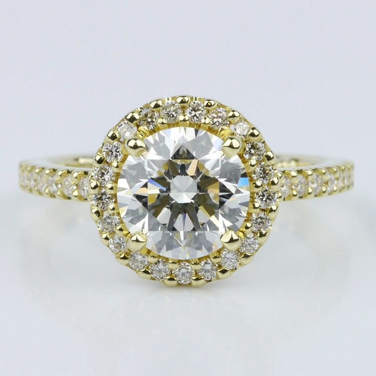 Yellow Gold Round Halo Engagement Ring (1.71 ct.)