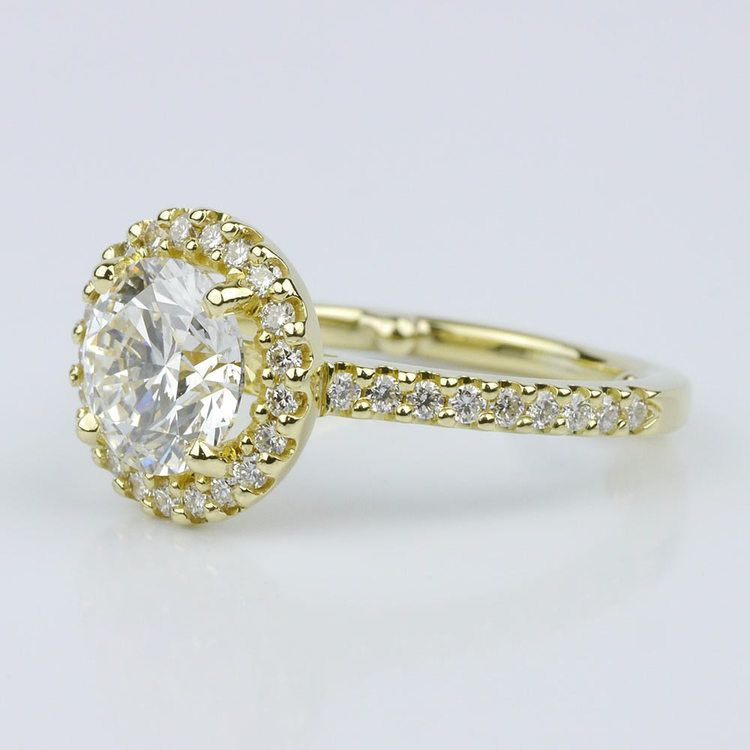 Yellow Gold Round Halo Engagement Ring (1.71 ct.) angle 2