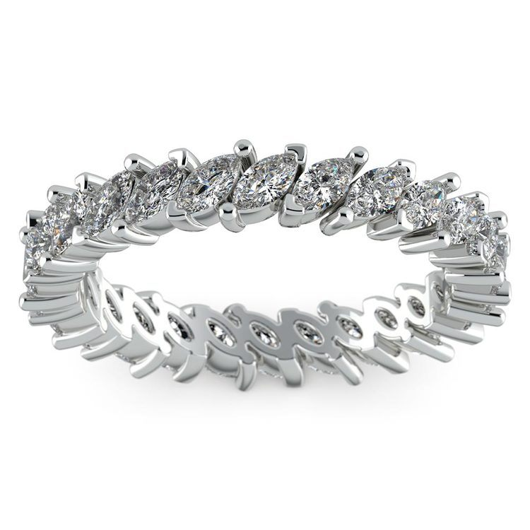 1.75 Carat Marquise Cut Diamond Eternity Band In White Gold   02