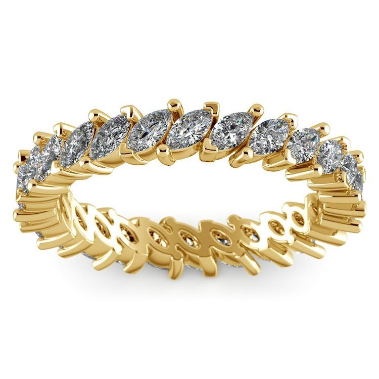 1.75 Carat Marquise Cut Diamond Eternity Band In Yellow Gold   02