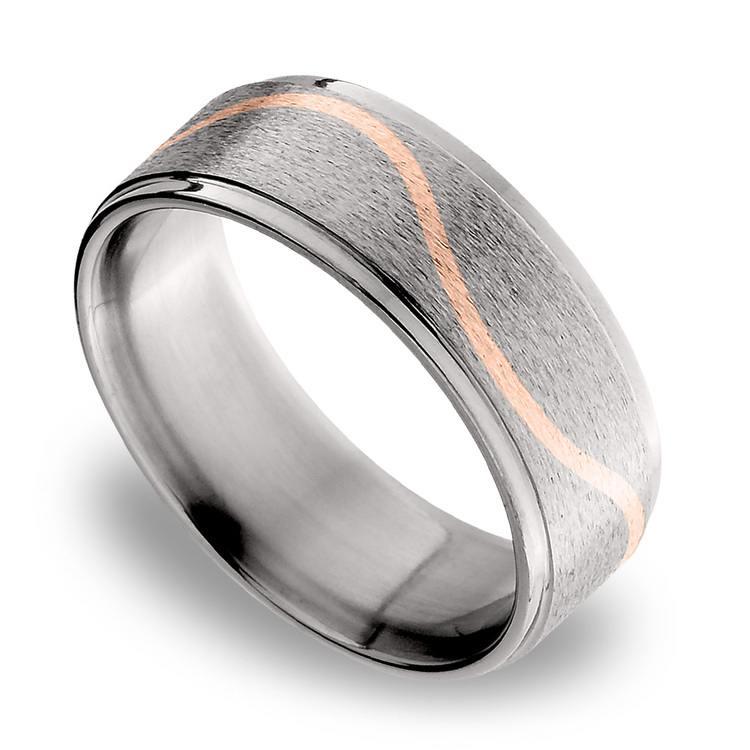 14K Rose Gold Curve Inlay Men's Wedding Ring in Titanium   01