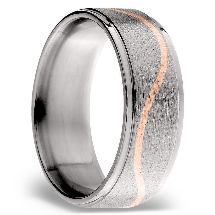 14K Rose Gold Curve Inlay Men's Wedding Ring in Titanium   02