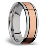 14K Rose Gold Inlay Men's Wedding Band in Titanium | Thumbnail 02