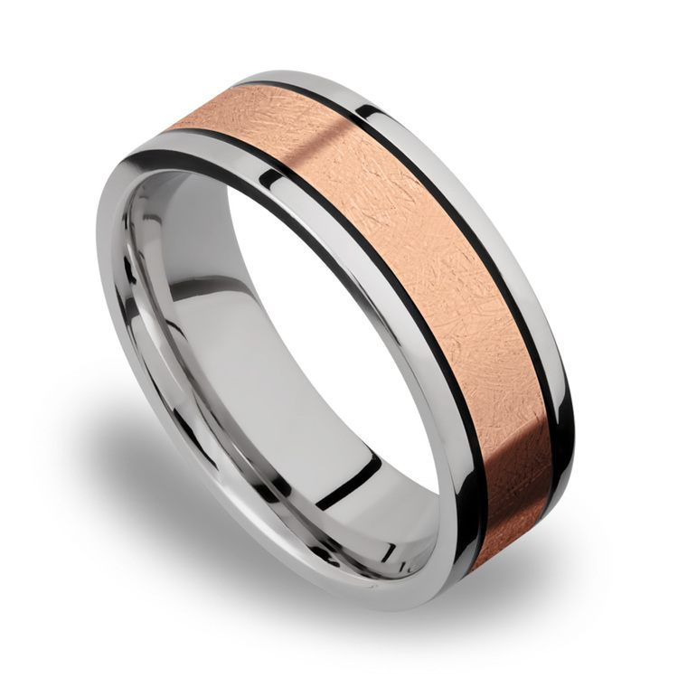 14K Rose Gold Inlay Men's Wedding Band in Titanium | 01