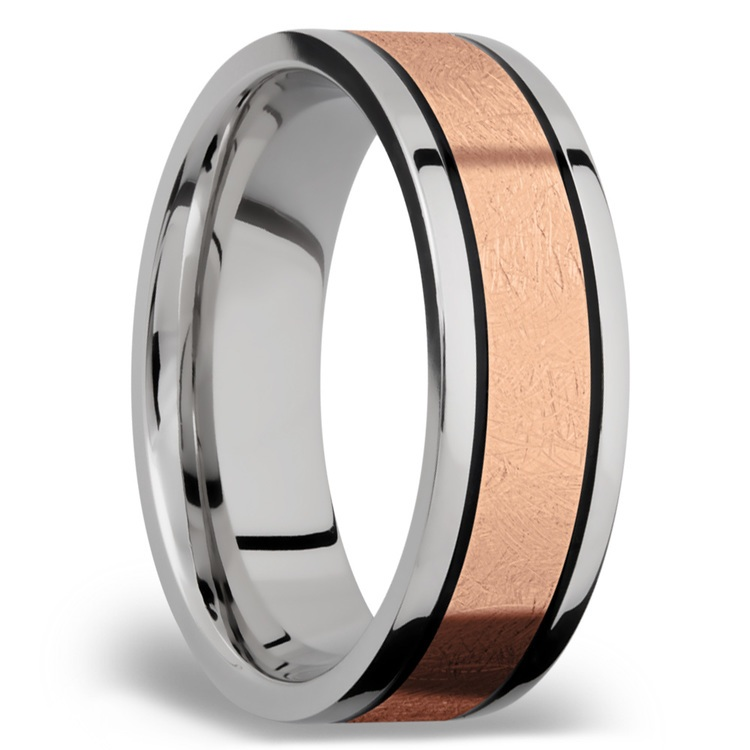 14K Rose Gold Inlay Men's Wedding Band in Titanium | 02