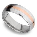 14K Rose Gold Inlay Men's Wedding Ring in Damascus Steel | Thumbnail 01