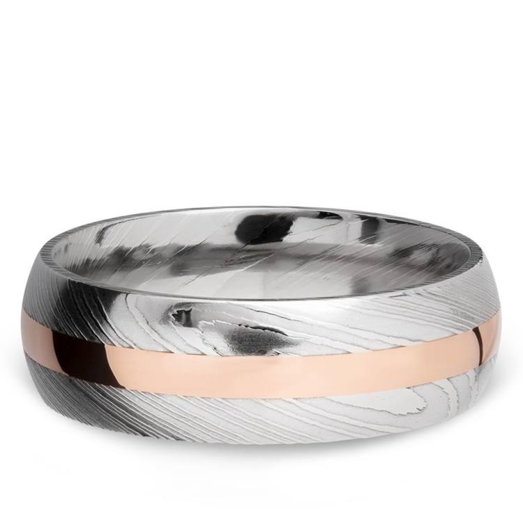 14K Rose Gold Inlay Men's Wedding Ring in Damascus Steel | 03