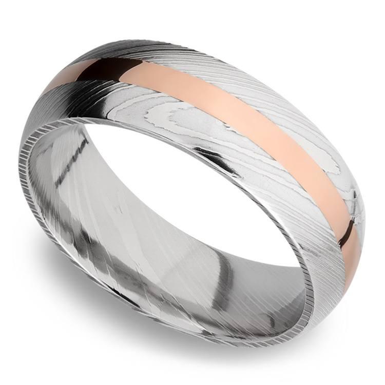 14K Rose Gold Inlay Men's Wedding Ring in Damascus Steel | 01