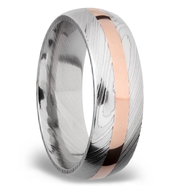 14K Rose Gold Inlay Men's Wedding Ring in Damascus Steel | 02