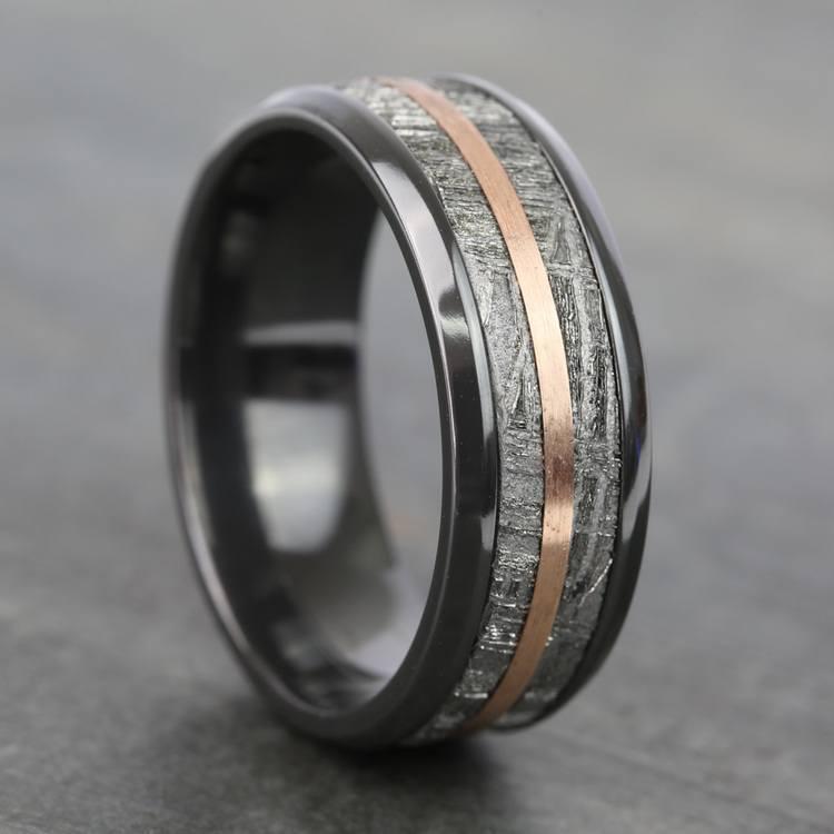 Zero Gravity - Zirconium Mens Ring with Meteorite and Rose Gold | 05