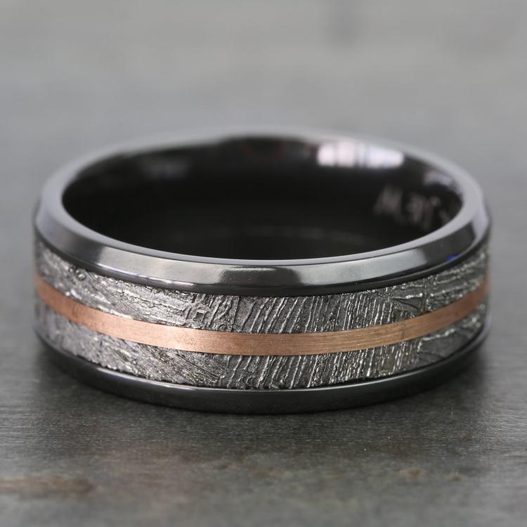 Zero Gravity - Zirconium Mens Ring with Meteorite and Rose Gold | 04