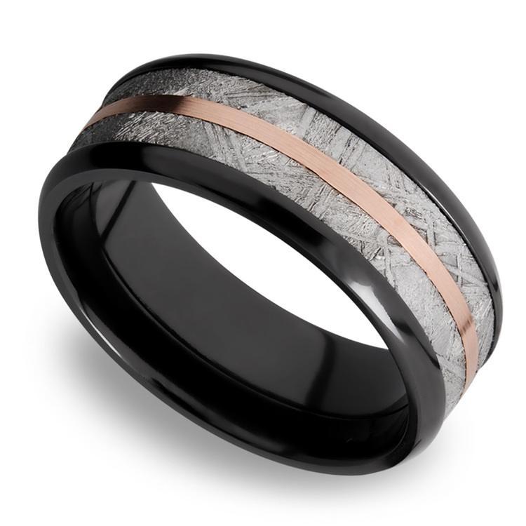 14K Rose Gold Inlay Men's Wedding Ring with Meteorite in Zirconium | 01