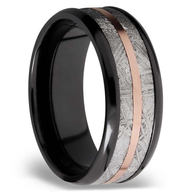 14K Rose Gold Inlay Men's Wedding Ring with Meteorite in Zirconium | 02