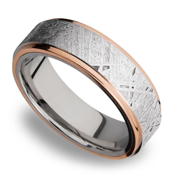 Rose Gold Mens Wedding Band.14k Rose Gold Meteorite Mens Wedding Band In Cobalt Apollo By