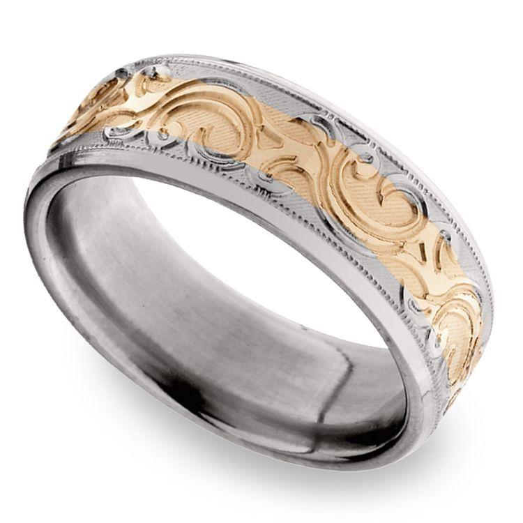 14K Rose Gold Men's Wedding Ring with Filigree in Titanium | 01