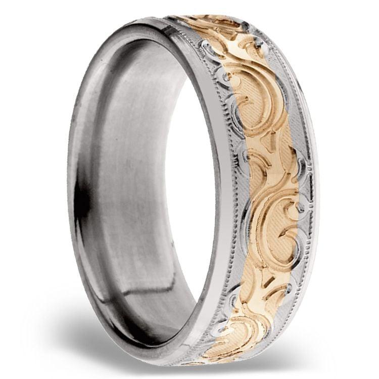 14K Rose Gold Men's Wedding Ring with Filigree in Titanium | 02