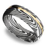 14K Yellow Gold Inlay Sunset Men's Wedding Ring in Damascus Steel | Thumbnail 01
