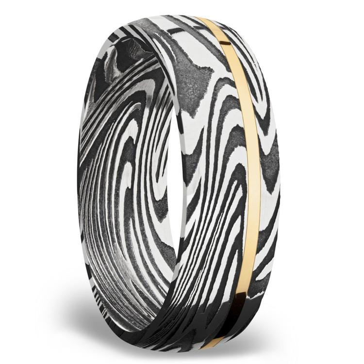 14K Yellow Gold Inlay Sunset Men's Wedding Ring in Damascus Steel | 02