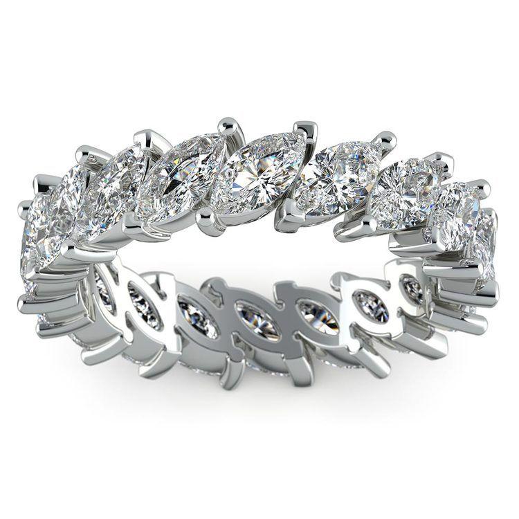 Luxurious Unusual Marquise Diamond Eternity Band In Platinum | 02