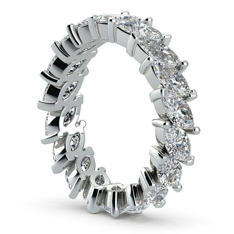 Luxurious Unusual Marquise Diamond Eternity Band In Platinum | 04