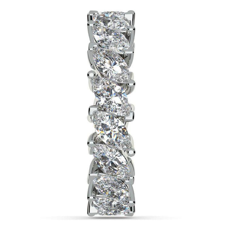 Luxurious Unusual Marquise Diamond Eternity Band In Platinum | 05