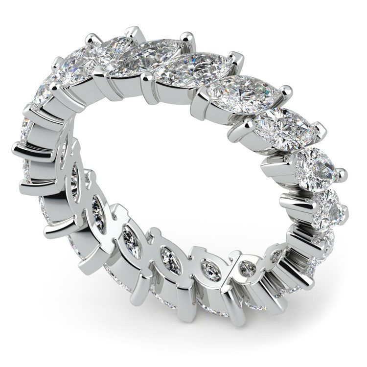 Luxury Marquise Diamond Eternity Band In White Gold | 01