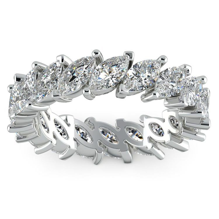 Luxury Marquise Diamond Eternity Band In White Gold | 02