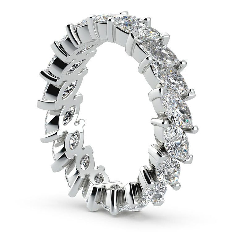 Luxury Marquise Diamond Eternity Band In White Gold | 04