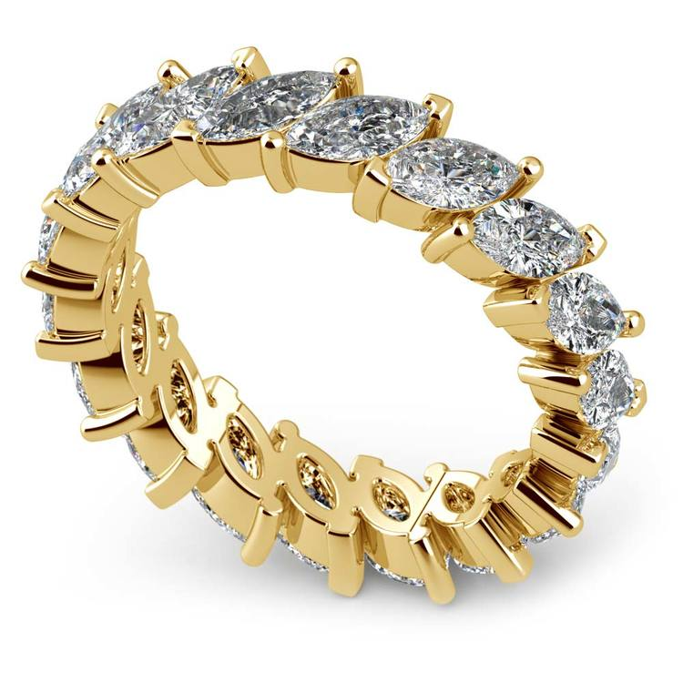 Luxury Unusual Marquise Diamond Eternity Band In Yellow Gold | 01