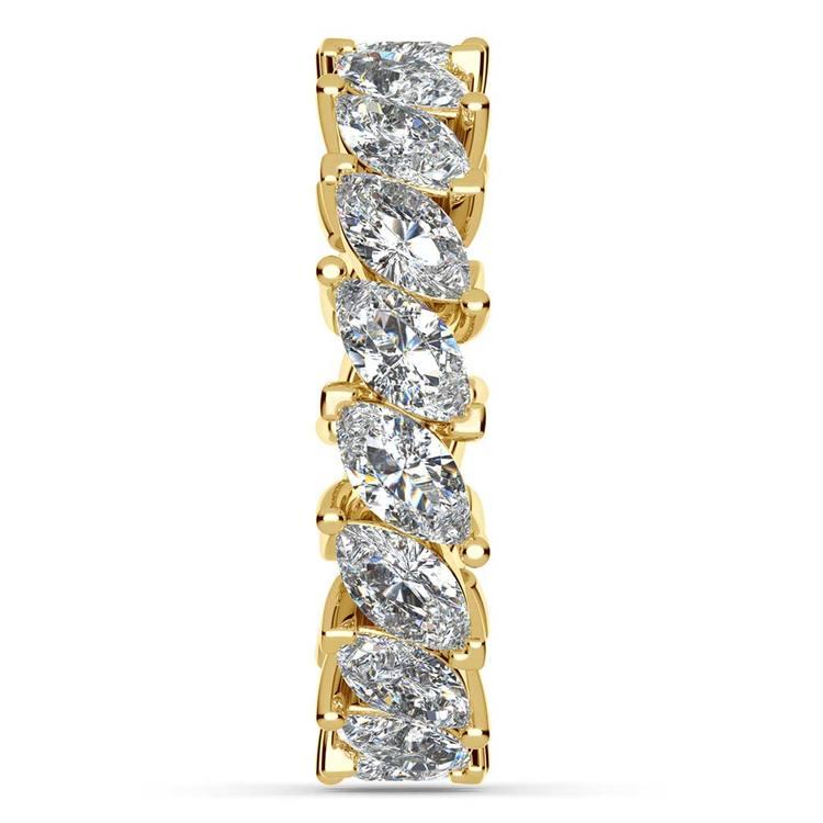 Luxury Unusual Marquise Diamond Eternity Band In Yellow Gold | 05