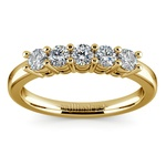 Five Diamond Wedding Ring in Yellow Gold (1/2 ctw) | Thumbnail 02