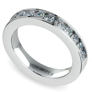 Channel Diamond Wedding Ring in White Gold (1/2 ctw)